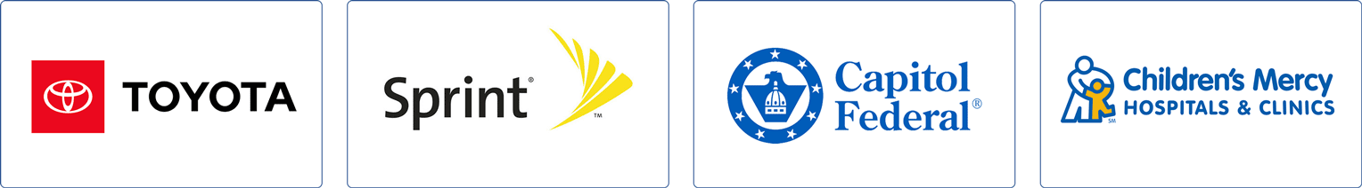 Former client logos: Toyota. Sprint, Capitol Federal, Children's Mercy